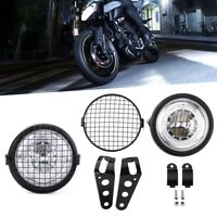 """6.5"""" Motorcycle LED Headlight Grill Side Mount Cover With Bracket Cafe Racer NEW"""
