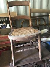 Vintage Antique Carved woven Cane Seat Wood Chair