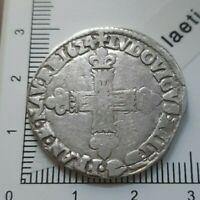 H14103 LOUIS XIII 1/4 écu 1624 L Bayonne gradé CGB rareté r monnaie royale