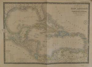 BRUÉ Map of Caribbean Carte des Isles Antilles des Etats Unis de L'Amérique 1860