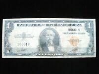 Dominican Republic 1 Peso 1947 Early No Prefix 18# Currency Money Banknote
