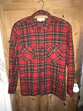 Red Wool Tartan Plaid Check Workers Jacket Shirt Workwear Yorkshire chore S vtg