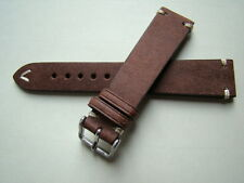 Italian vintage watch band genuine distressed leather 20mm brown strap handmade