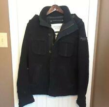 NWOT Abercrombie & Fitch Elk Lake Wool Military Jacket Coat Black Mens Medium M