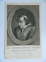 Incisione Fumetto E Da Joseph Mochetti Ritratto Papa Pie VII Chiaramonti