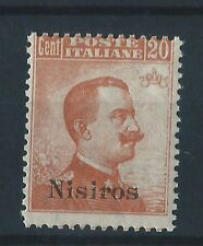 1917 FRANCOBOLLI EGEO NISIROS 20 CENTESIMI ARANCIO LINGUELLATO MLH D/3611