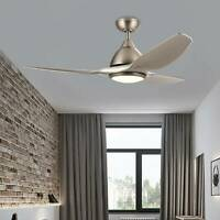 52'' Contemporary Ceiling Fan 3 Blades Brushed Nickel w/LED Light Remote Control