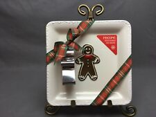 """Hallmark Square 7&1/4"""" Cream Color Plate Gingerbread Man Recipe*New*"""