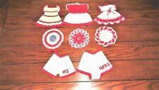 New listing Mixed Lot Of 8 Vtg Red White Hand Crochet Cotton Potholder Hot Pad Retro Kitchen