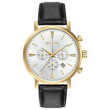 Bulova Colección Clásica para Hombre Cronógrafo Reloj de Cuero Banda De 41 mm 97B155