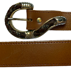 Ladies Vintage Leather Belt Brown UK 12 Size 75 cm 30 inches L5