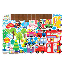 City Transport System,Train,Cars,School bus,Fire Truck Kids Mural Wall Deca O5E5