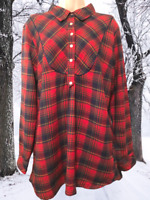 Country Store Women's Blouse Size L Long Sleeve Cotton Plaid Pullover Top