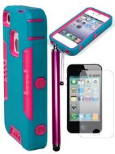 Hybrid Teal and Pink Robotic Case Cover+Screen Protector+Stylus For iPhone 4