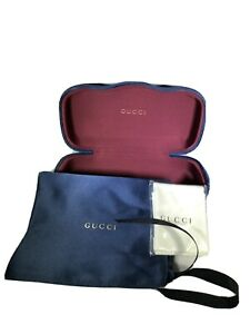 Authentic GUCCI Blue Velvet Medium Sunglasses Case + Pouch + Cleaning Cloth NEW