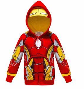 Boy zip hoodie top fancy dress costume superhero Avenger Ironman IRON MAN 3-8Y