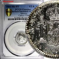 Mexico SPANISH COLONY Charles IV Silver 1801 MO FT 1/2 Real PCGS AU DETAILS KM72