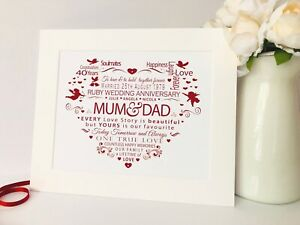 Personalised 40th RUBY Wedding Anniversary Word Art Print Heart Gift Diamante