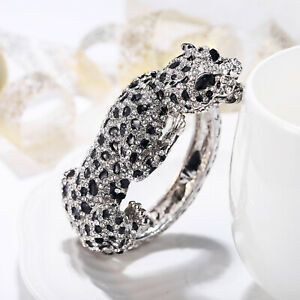 Leopard Panther Bangle Women Animal Bracelet Party Jewelry Gift Crystal Silver