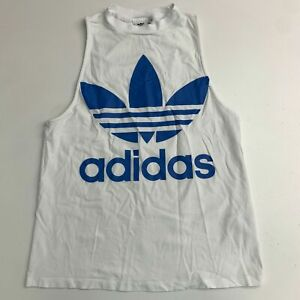 Adidas Athletic Muscle Tank Top Shirt Mens M White Knit Sleeveless Workout