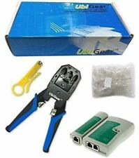 Cable Tester +Crimp Crimper +100 RJ45 CAT5 CAT5e Connector Plug Network Tool Set