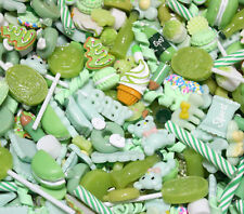 20 pcs mixed Wholesale Lot Green Color Cute Kawaii Flatback Resin Cabochons