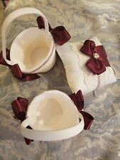 Rose Gold & Burgundy with Pearl Flower Girl Baskets & Ring Bearer Pillow