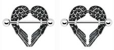 body Jewelry sold as Pair 14g Cz Body Accentz® Nipple Ring Angel Wings bar