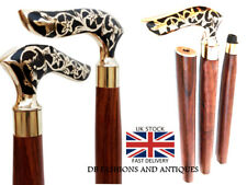Antique carved Folding Walking Stick Brass Curved Handle  Dismantle In To Four