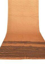 Vintage Indian Saree 100% Pure Silk Printed Antique Craft Sari Fabric Yellow