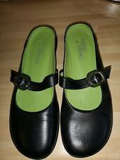 AGUA × SHOES Eur-38 UK 5 Black leather SLIP on backless shoes flip flop closed