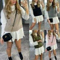 Women's Ladies Fine Ribbed Frill Puff Sleeve Knit Jumper Shirt Blouse Dress Tops