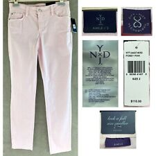 NYDJ Women's 2 Posey Pink Clarissa Skinny Ankle Jeans Fine Line Twill Pant NEW