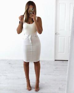 Wakee Denim Ladies Mid Skirt - White