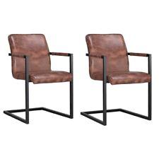2er Set Freischwinger HEBEI Brown Designer Armlehnstuhl Textilleder Metall
