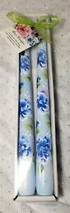 """Tapered Candle Sticks Blue Roses & Buds Hand Painted 10"""" Set Of 2"""