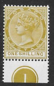 Tobago 1894 1/- Olive-Yellow SG 24 - Mint Example with Plate Number