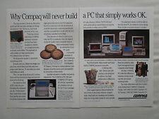 6/1990 PUB COMPAQ COMPUTER PC ORDINATEUR DESKPRO 386 286 ORIGINAL AD