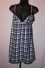 Women's Black Pink Plaid Flannel Night Gown Nightie Lingerie Victoria;s Secret S