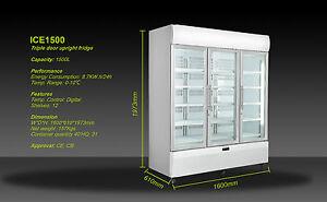 3 Door 1500L Commercial Upright Glass Display Fridge Drinks Showcase BLACK COLOr