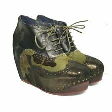 Irregular Choice shoes Camouflage What an Angel Leather Wedge Bootie New 7 1/2
