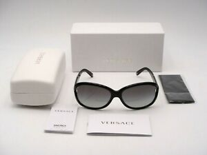 AUTHENTIC VERSACE VE4186 GB1/11 SUNGLASSES BLACK FRAME/GREY LENS NEW IN BOX!