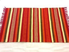 Striped Handmade RED ORANGE Natural Cotton Reversible Kilim Washable RUG 90x150