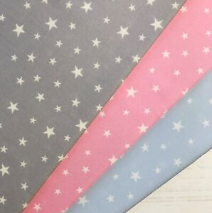 ROSE & HUBBLE Stars Pink Blue Silver 100% Cotton Fabric * SPECIAL OFFER 15% OFF!