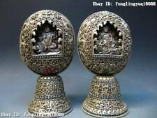 11 Tibetan Copper silver-gilt yellow Jambhala Buddha Shrines TangKa Shrines Pair