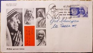 autograph of Saint Mother Teresa - signed First Day Cover (FDC)
