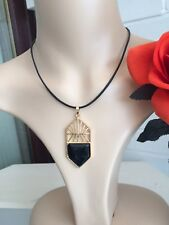 Black Obsibian pendant Yoga Meditating Chakra Protection Short Leather necklace