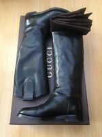 GUCCI WOMENS BOOTS TALL BLACK LEATHER EQUESTRIAN LADIES UK 6.5 39.5