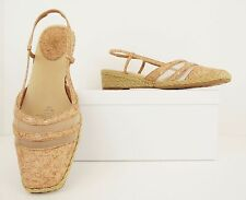 Lifestride Jitney Tan Nude Mesh Cork Slingback Low Heel Sandals Shoe 7.5M (S312)