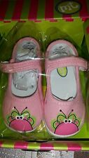 Monkey Toes Flutterflies size 7 girls canvas shoes boutique Mary Jane pink